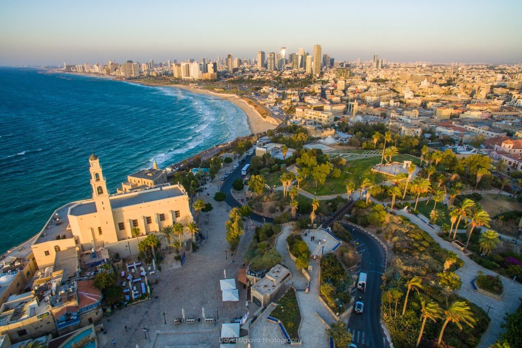 A view from above on Jaffa Port and Tel Aviv's beachfront