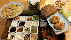 Israeli breakfast in Desert Olive Farm
