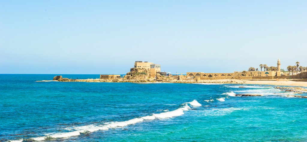 Ruins of the Palace on the reef in Caesarea Maritima, Mediterranean sea, Israel
